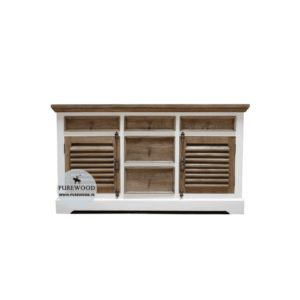 White Teak Wood Sideboard Front View