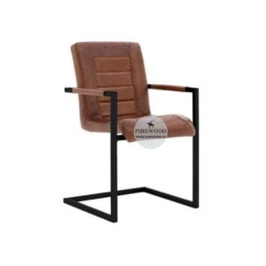 Industrial Leather Arm Dining Chair (4)