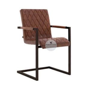 Industrial Leather Arm Dining Chair (6)