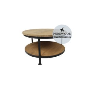 IndustrialRoundCoffeeTable with storage