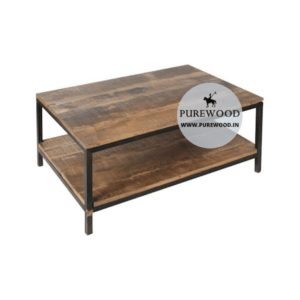 Industrial Square Coffee Table With Storage