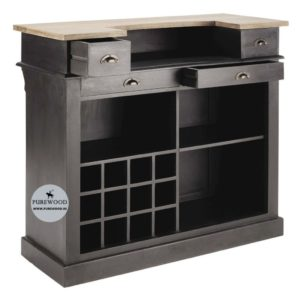 Charcoal gray bar cabinet
