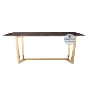 Modern Brown Faux Marble & Gold Dining Table